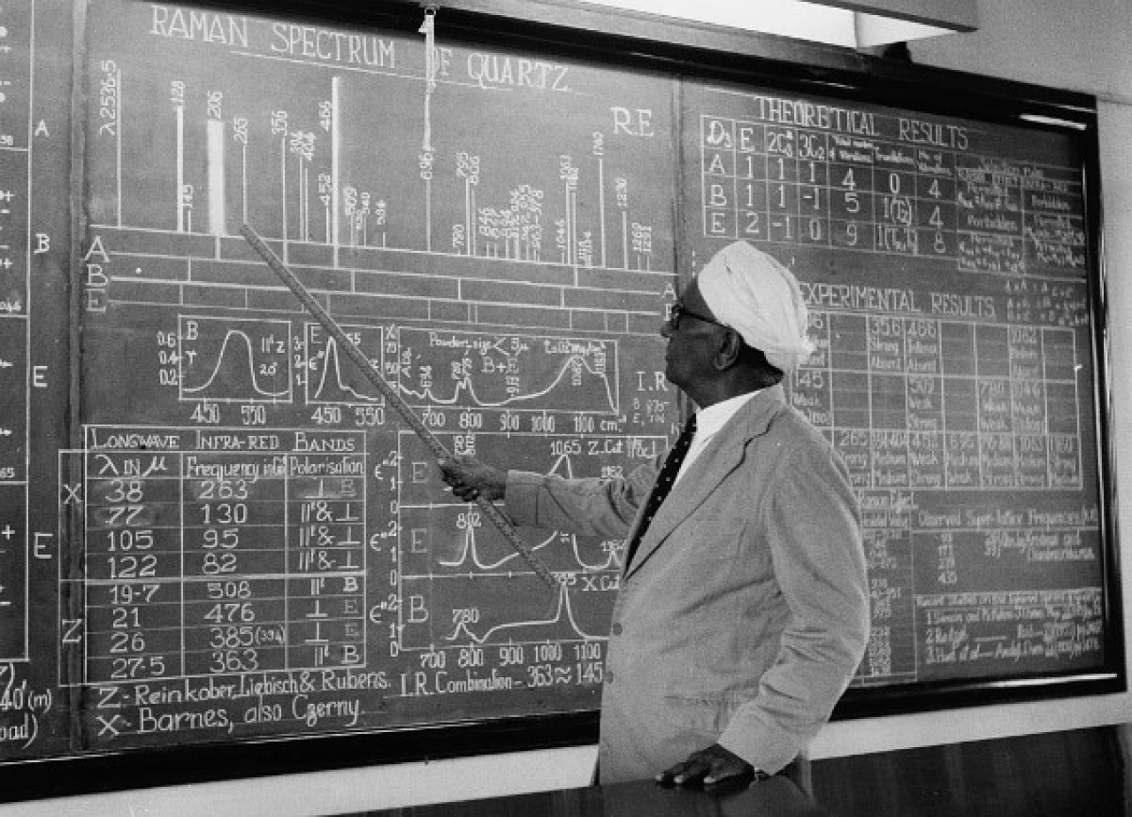 Sir C V Raman pointing to information on a large blackboard as he gives a lecture, 5 August 1958. (Keystone Features/Hulton Archive/Getty Images)