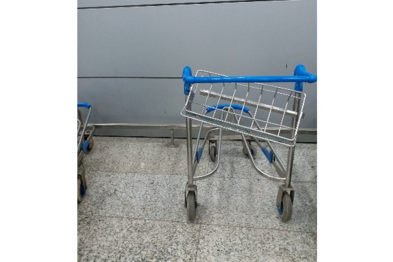 One of the many damaged trolleys