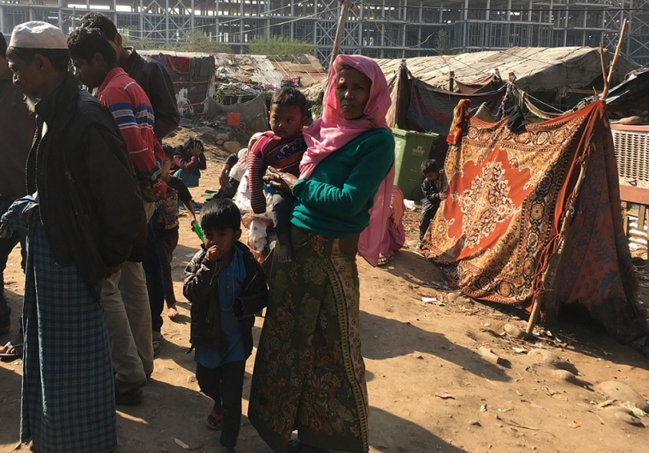 Inhabitants of a Rohingya camp in Bhatindi