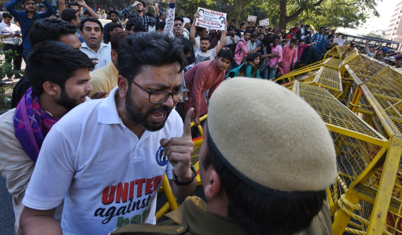 JNU students protesting  outside the CBI headquarters in New Delhi. (Raj K Raj/Hindustan Times via GettyImages)