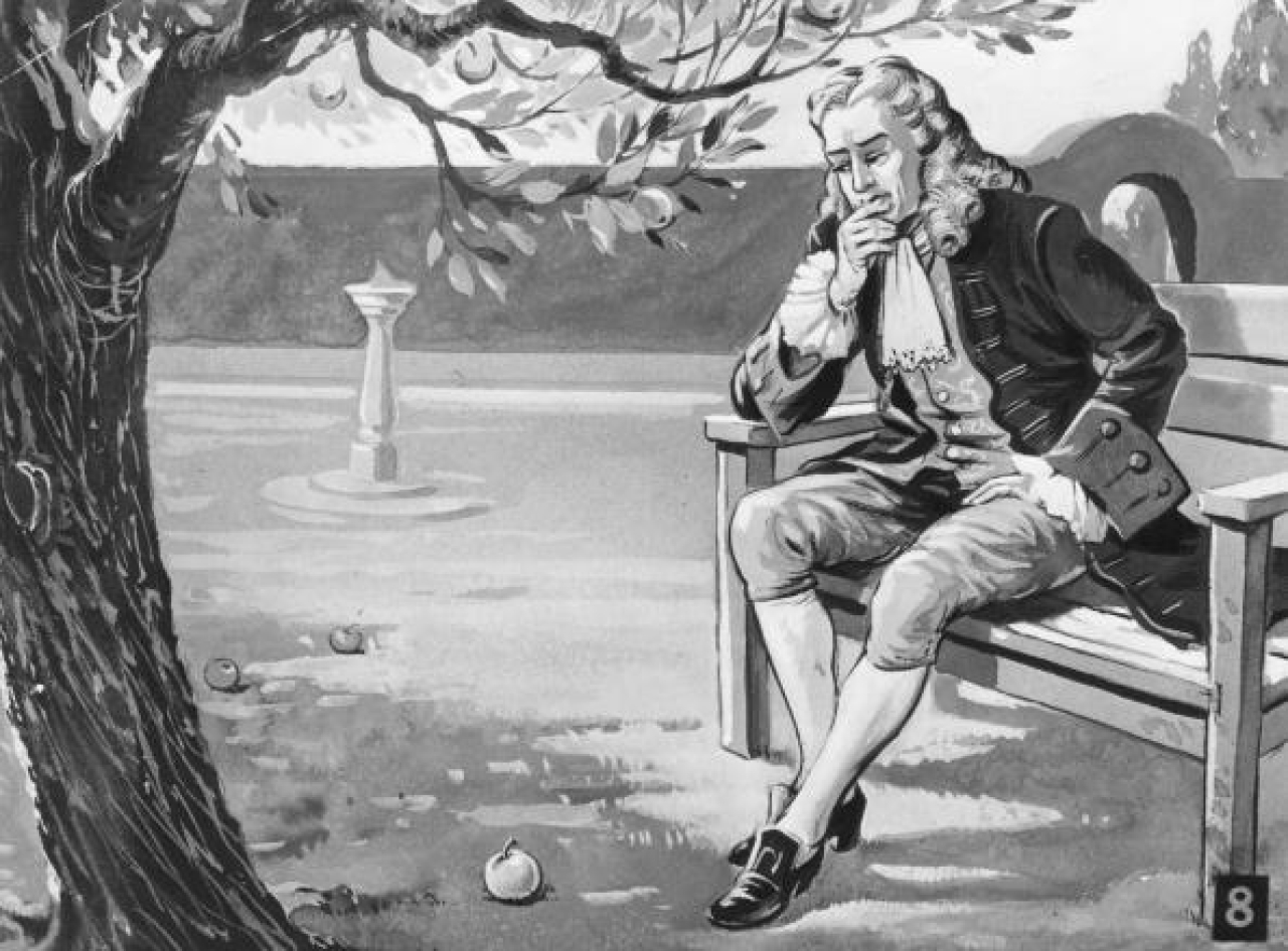 English mathematician and physicist Isaac Newton contemplates the force of gravity, as the famous story goes, on seeing an apple fall in his orchard. (Hulton Archive/Getty Images)