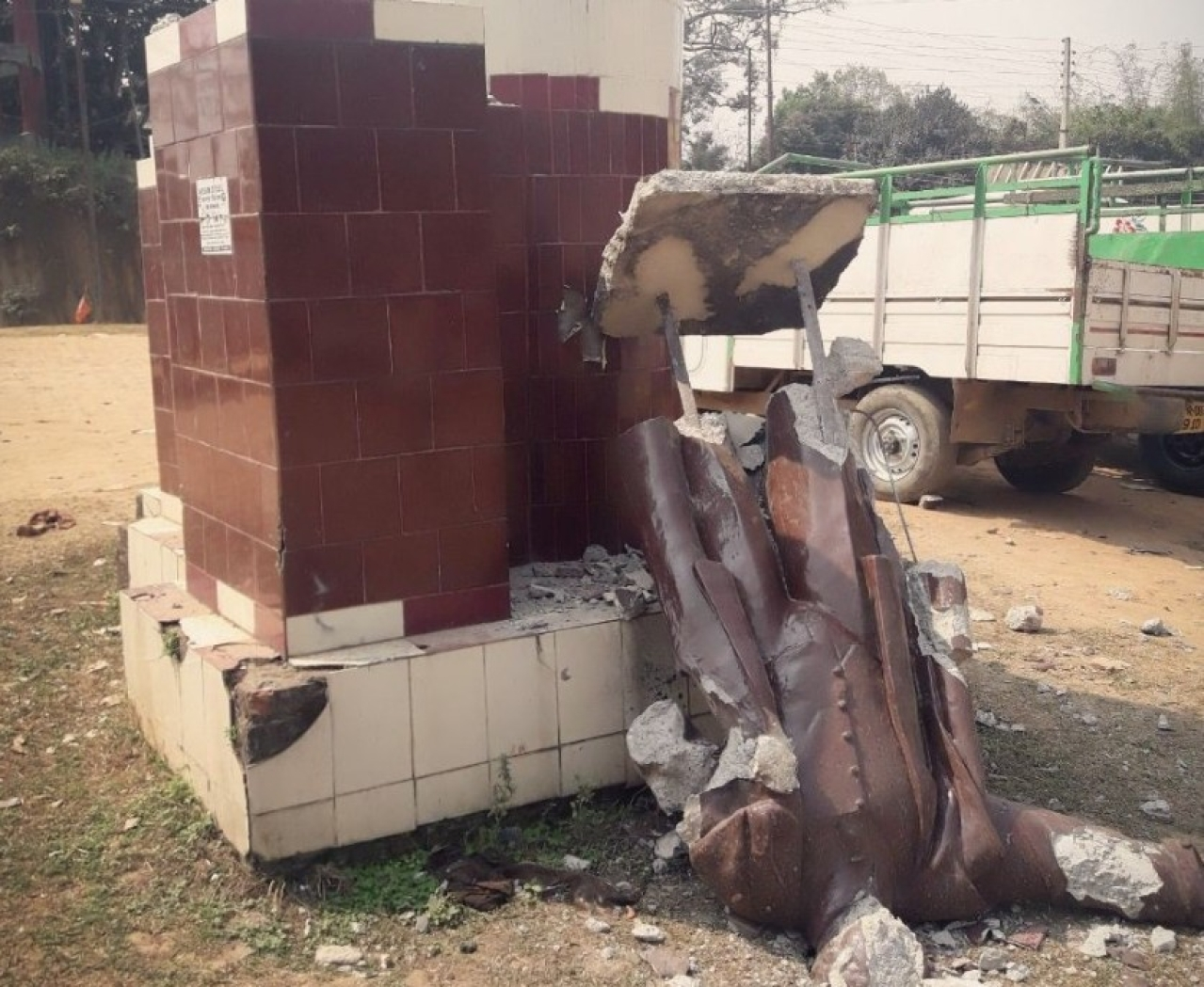 The broken Lenin statue at Sabroom Motor Stand in Tripura.