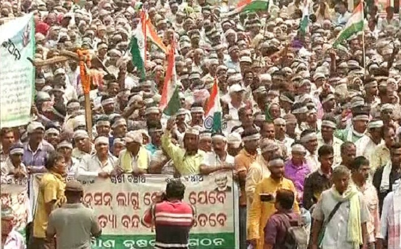 Odisha Farmers Protest In Front Of Assembly, Demand Hike In MSP, Pension For Sexagenarians