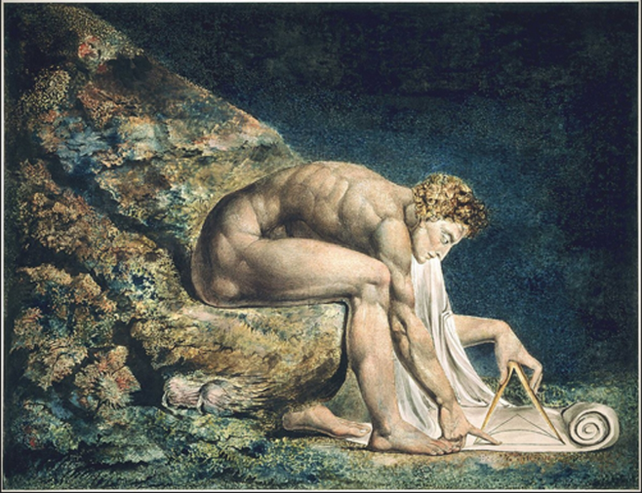 "Newton: Monotype by William Blake (1795/1805). Blake wanted god to ""keep us from single vision and Newton's sleep""."