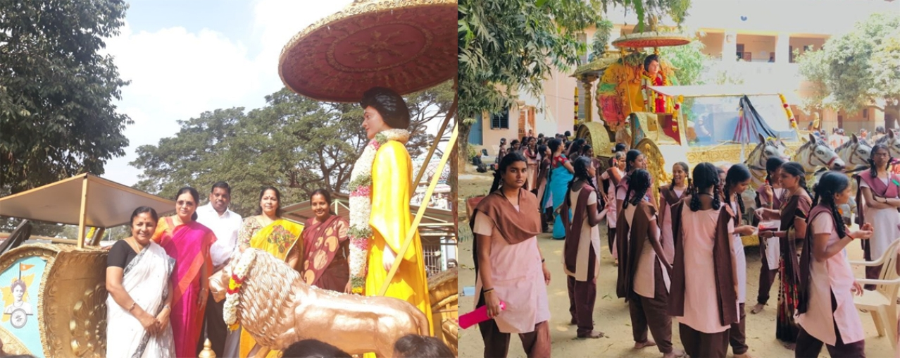 Srinivasan in front of the rath, and right, some of the students taking part in the celebrations.
