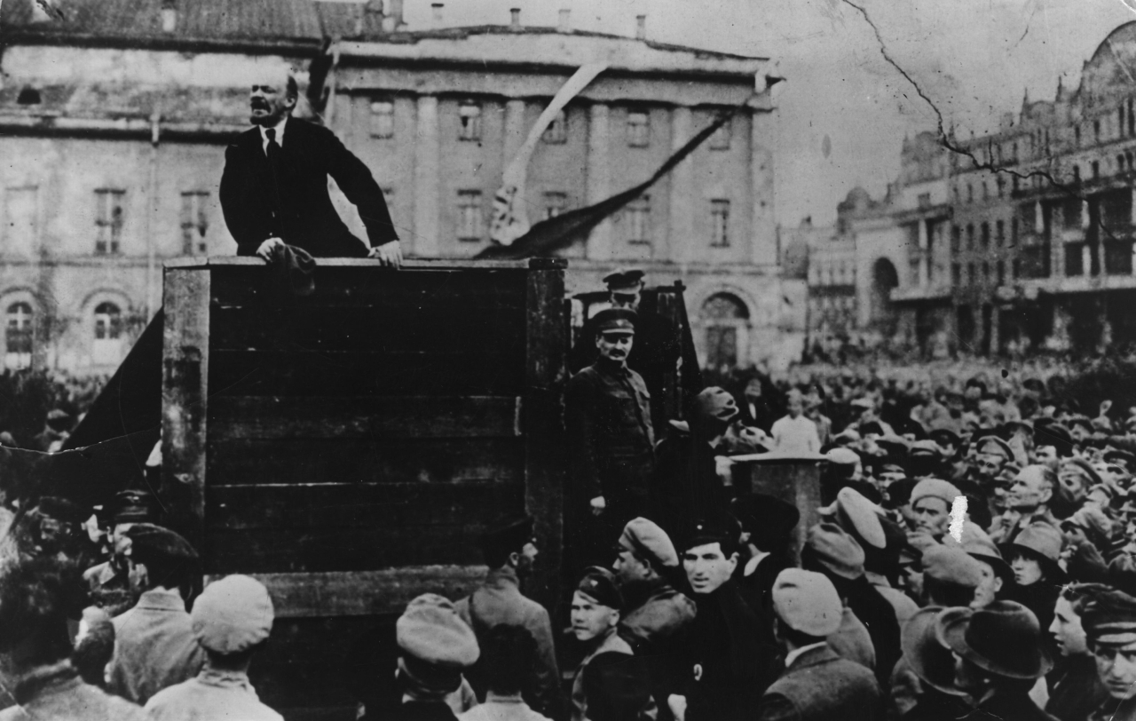 Vladimir Lenin  giving a speech in to men of the Red Army leaving for the front, during the Polish-Soviet War, Sverdlov Square (now Theatre Square), Moscow, 5th May 1920. (Keystone/Getty Images)