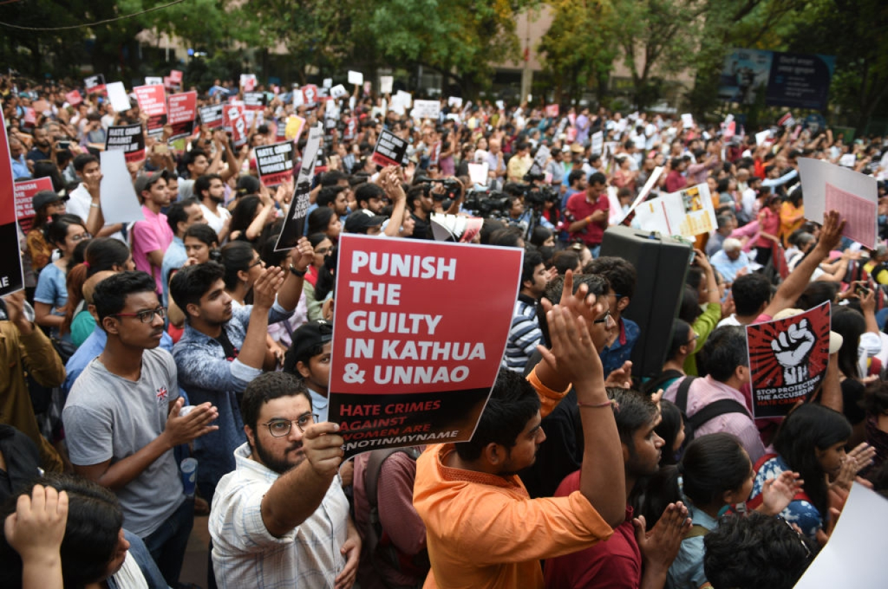 People protest against the Kathua and Unnao rape cases in New Delhi. (Arvind Yadav/Hindustan Times via Getty Images)