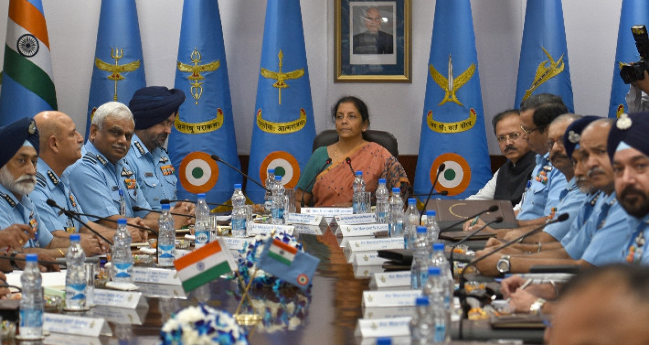 Defence Minister Nirmala Sitharaman addresses the Air Force Commanders. (Sushil Kumar/Hindustan Times via Getty Images)