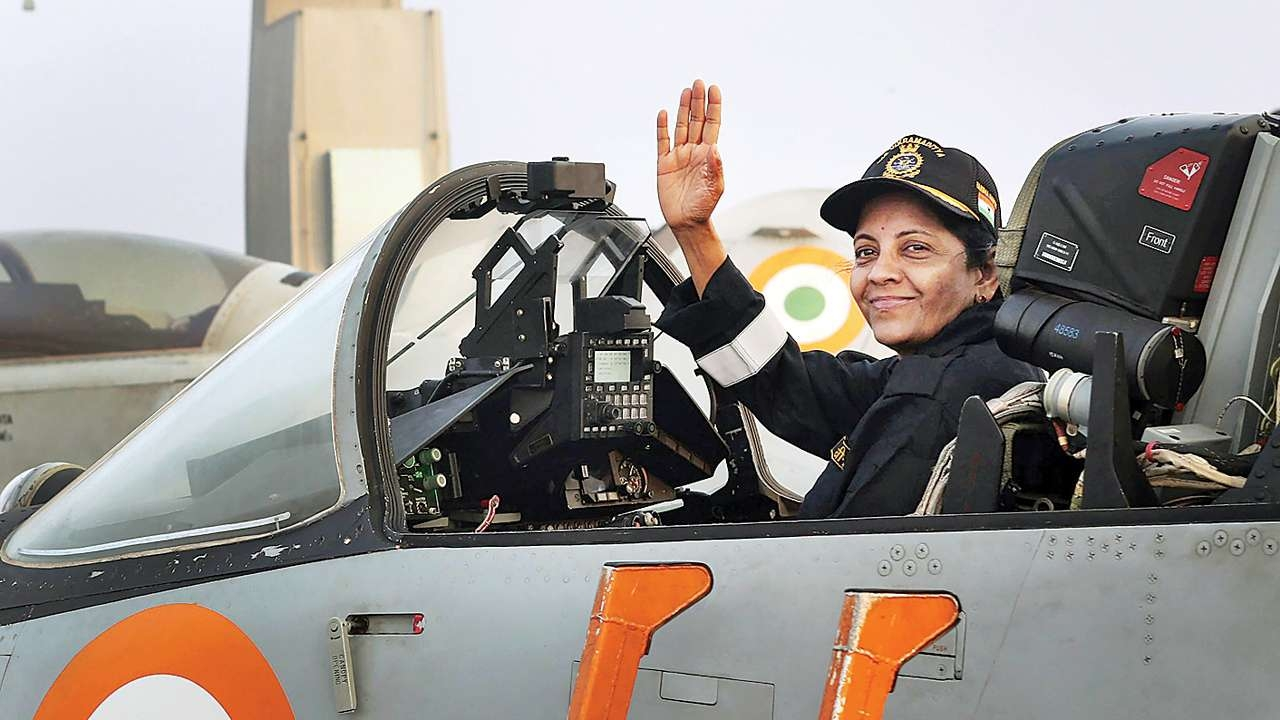 (Defence Minister Nirmala Sitharaman in a air force fighter aircraft/Photo by Defence Ministry)
