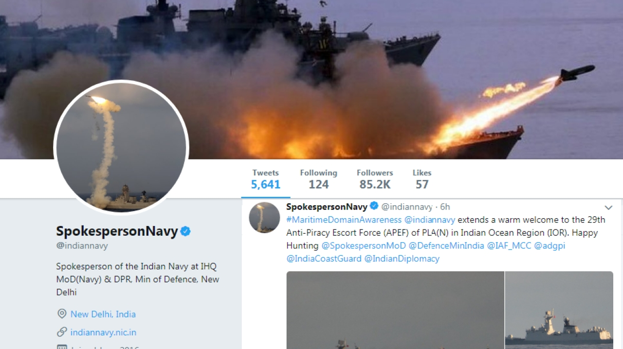 Trolling At Sea? Indian Navy Tweets 'Warm Welcome' To Chinese Navy Vessels In The Indian Ocean