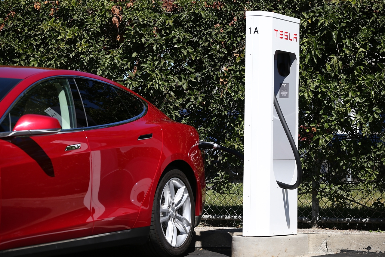 A Tesla Supercharger in Fremont, California (Justin Sullivan/Getty Images)