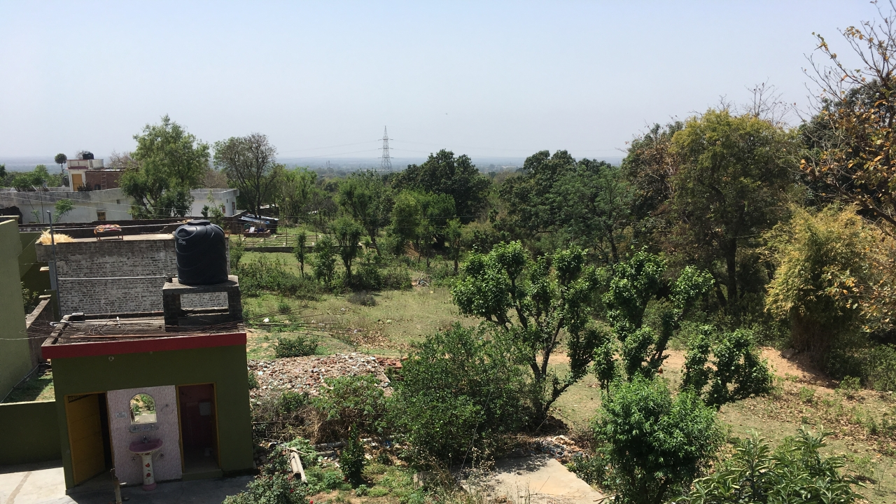 View from the terrace of Veena Devi's house. The green house with a washbasin visible in the photo is that of Sanji Ram. The cot on the roof is where the juvenile accused was sleeping.