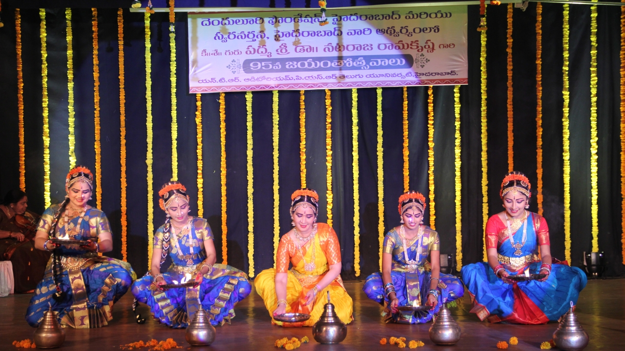 A dance troupe performs