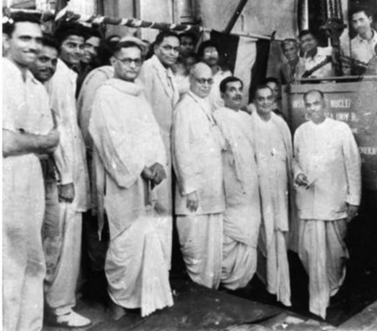 Dr Mookerjee laying the foundation for India's first nuclear institution. Dr Saha is standing nearby.