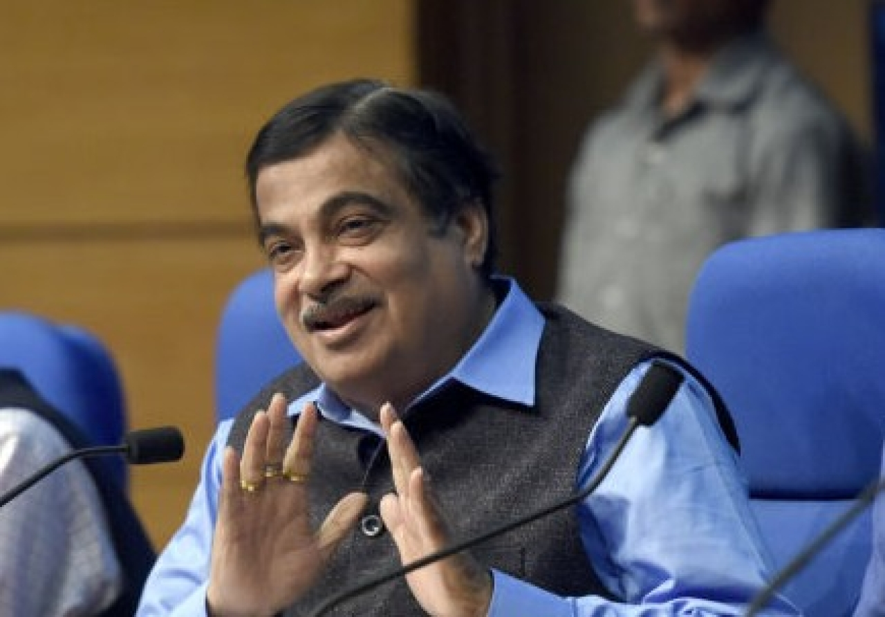Road Transport and  Highways Minister Nitin Gadkari addresses a press Conference in New Delhi. (Sonu Mehta/Hindustan Times via Getty Images)