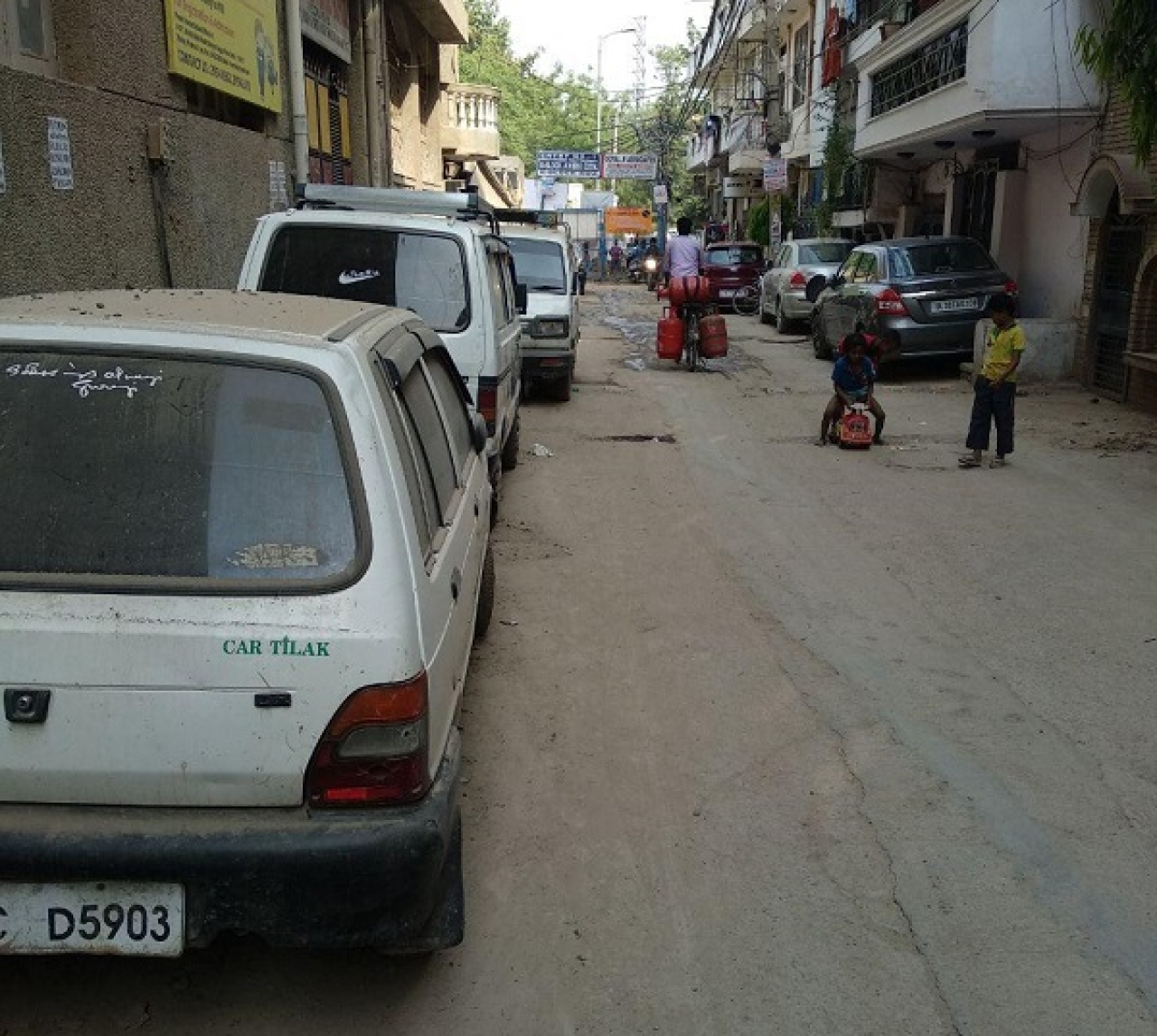 In the absence of parking spaces, most of the cars are parked on streets in residential areas. This is the condition of a colony in Malviya Nagar area in Delhi.