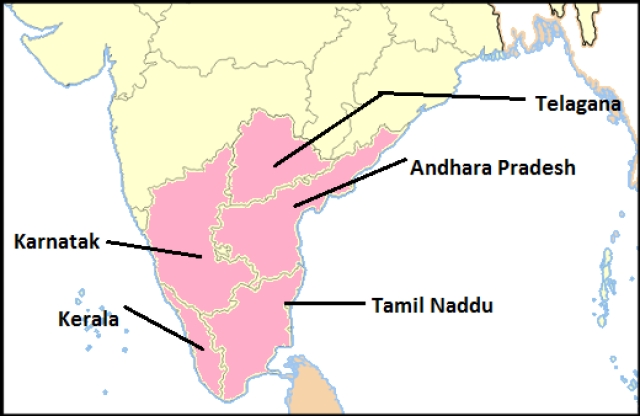 The south Indian states.