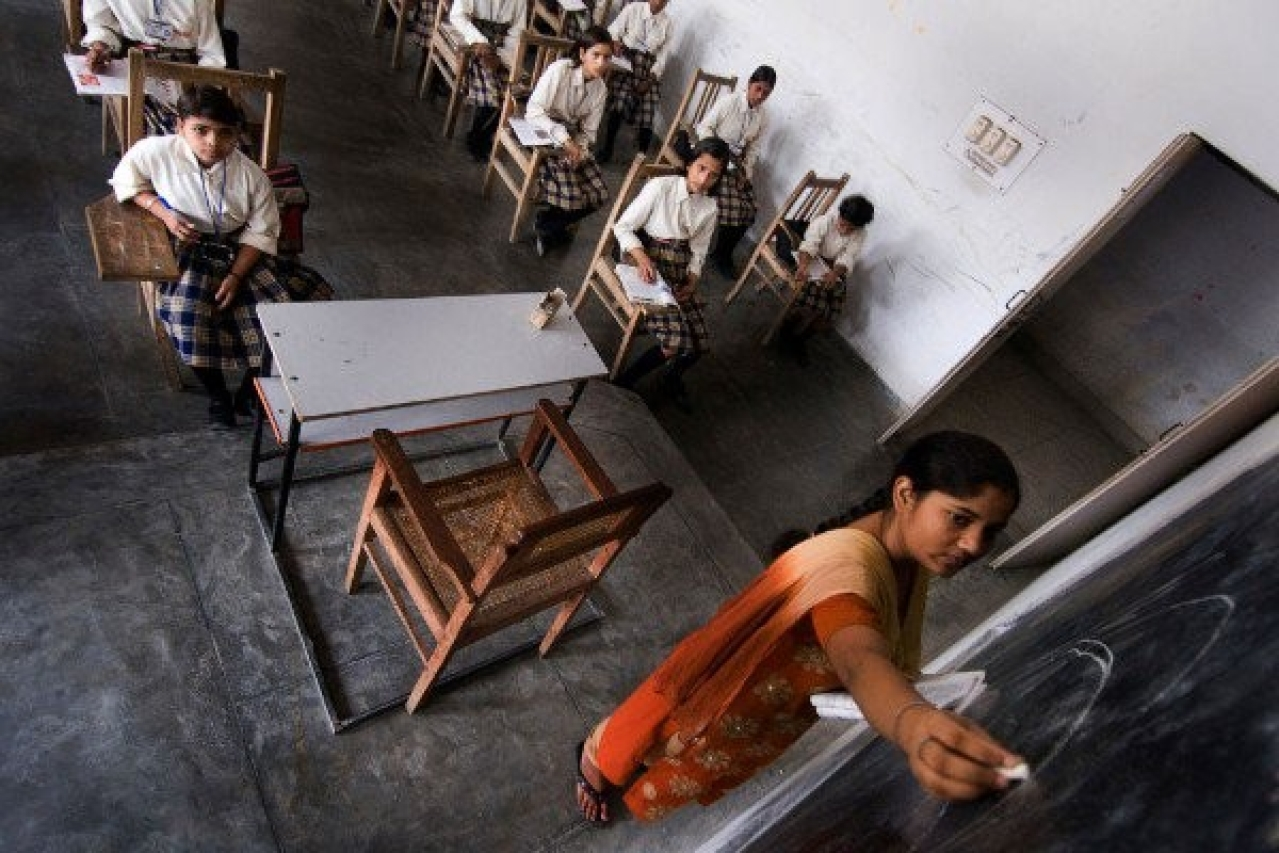 Indian school children photographed at a government school in Lucknow. (Priyanka Parashar/Mint via Getty Images)