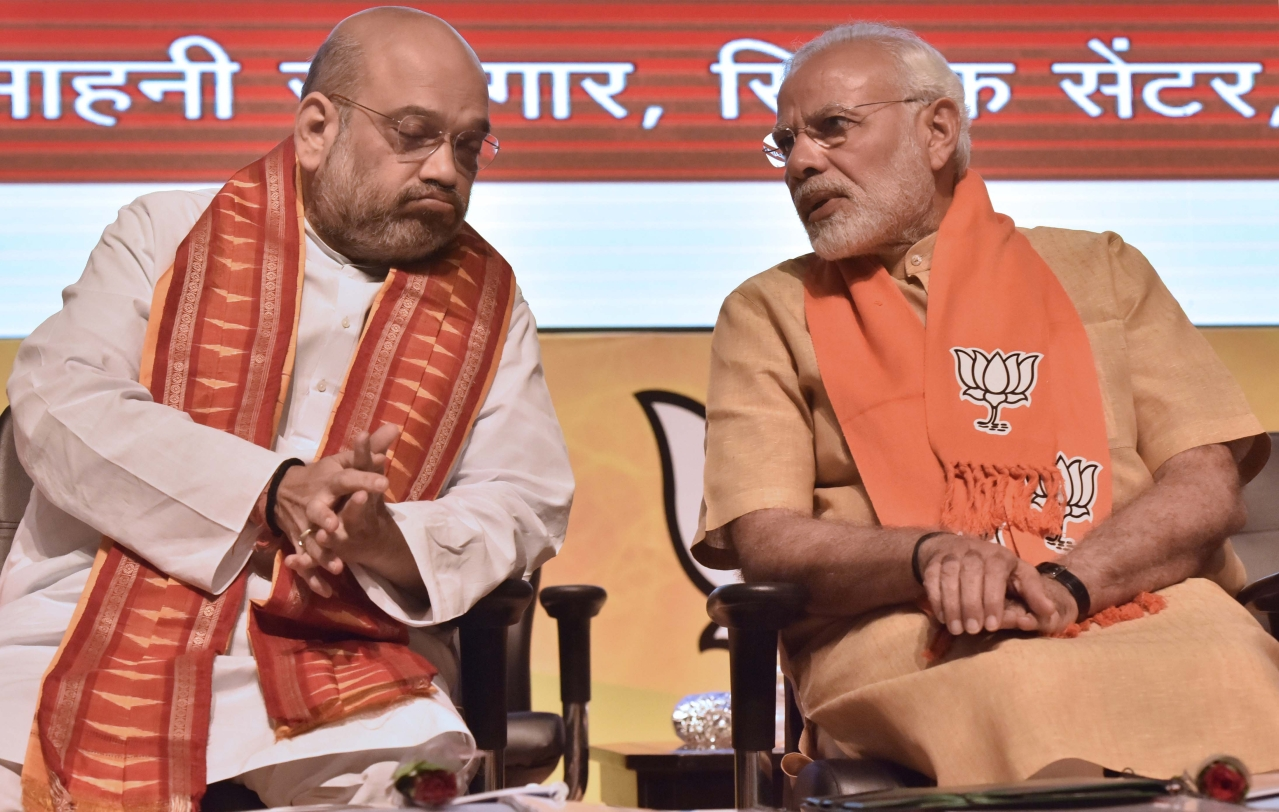 BJP national president Amit Shah and Prime Minister Narendra Modi in New Delhi. (Sonu Mehta/Hindustan Times via GettyImages)