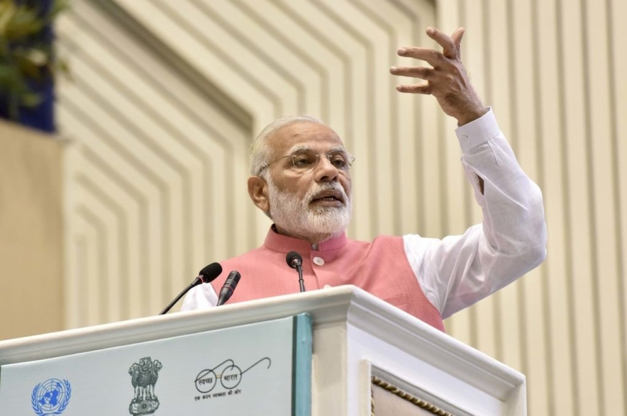 Prime Minister Narendra Modi addresses the International Conference on Consumer Protection for East, South and South-East countries with the theme of Empowering Consumers in New Markets in New Delhi. (Sonu Mehta/Hindustan Times via GettyImages)