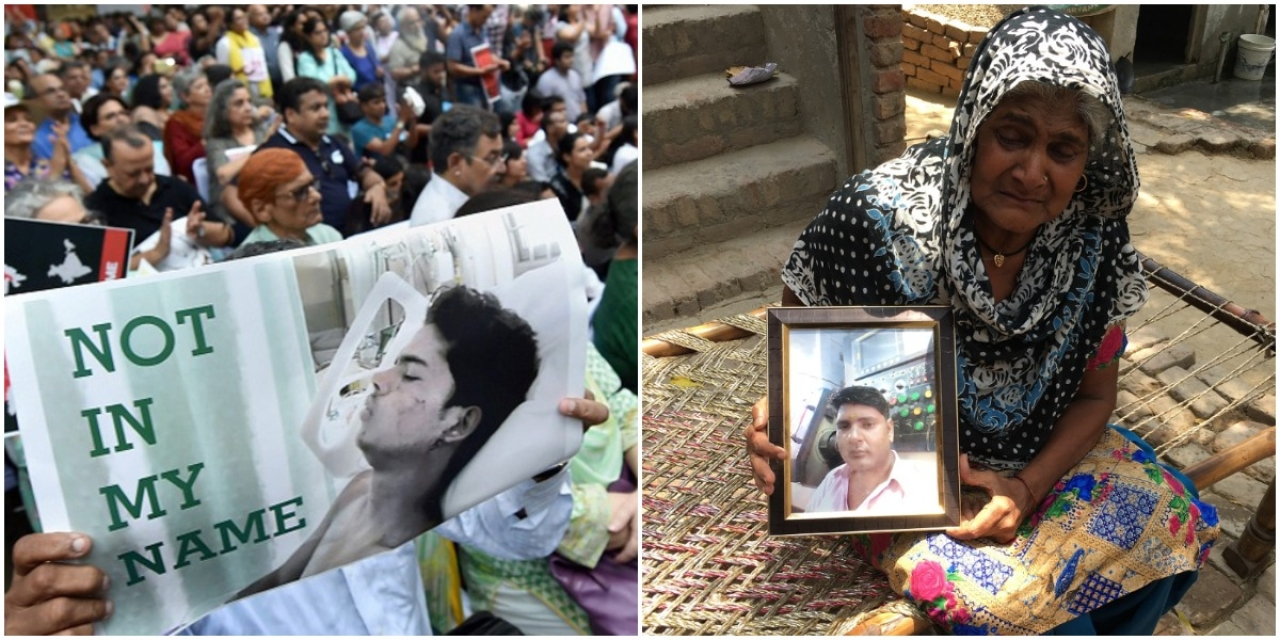 A protest against killing of Junaid Khan, left.  Devendra's mother holds a portrait of her son who was killed similarly over a seat dispute, right.