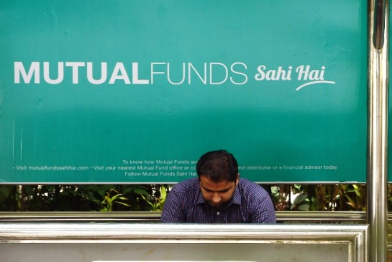 A bus stop with an advertisement promoting mutual funds (INDRANIL MUKHERJEE/AFP/Getty Images)