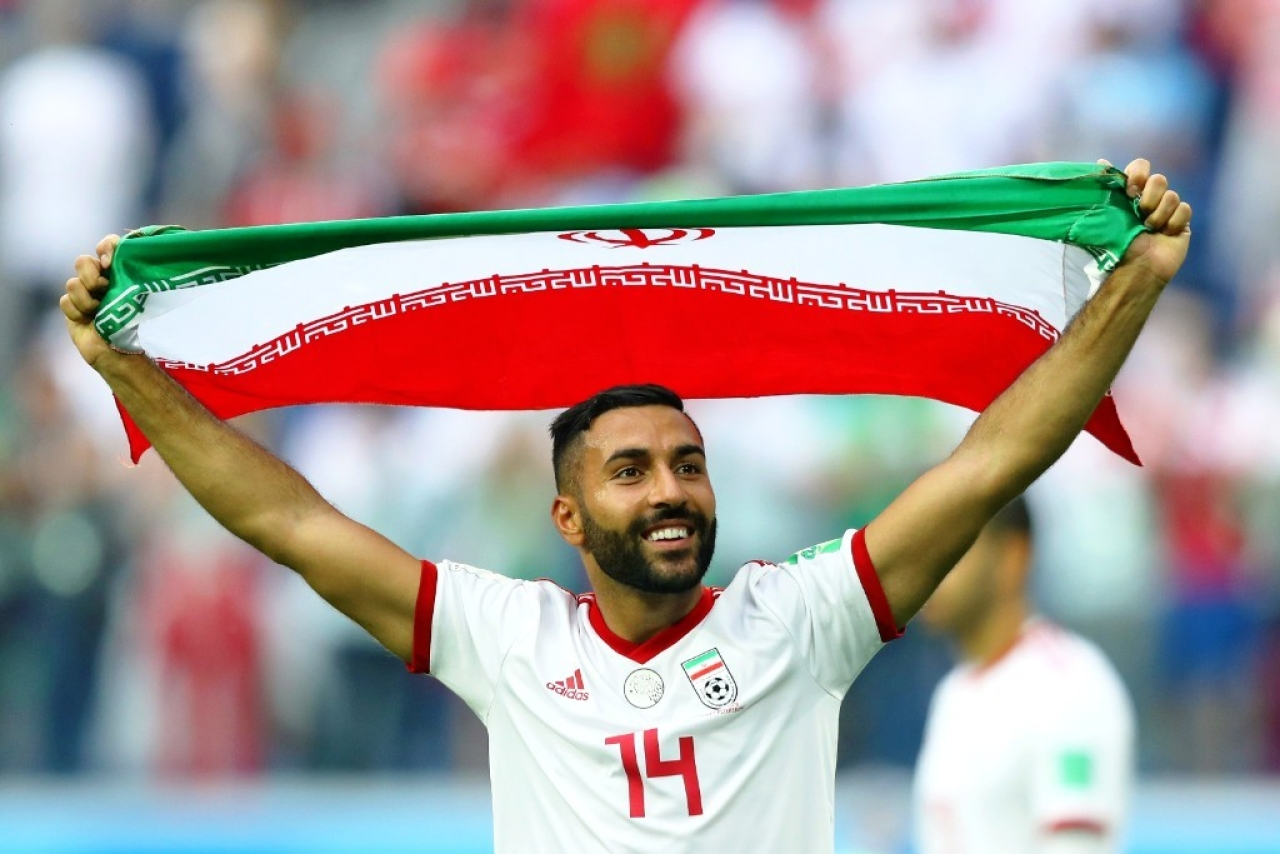 Saman Ghoddos of Iran celebrates the victory over Morocco. (Richard  Heathcote Getty Images dfc71c0bf