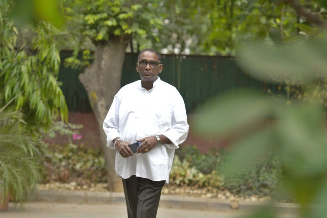 Former Supreme Court judge Jasti Chelameswar at his residence in New Delhi. (Raj K Raj/Hindustan Times via GettyImages)