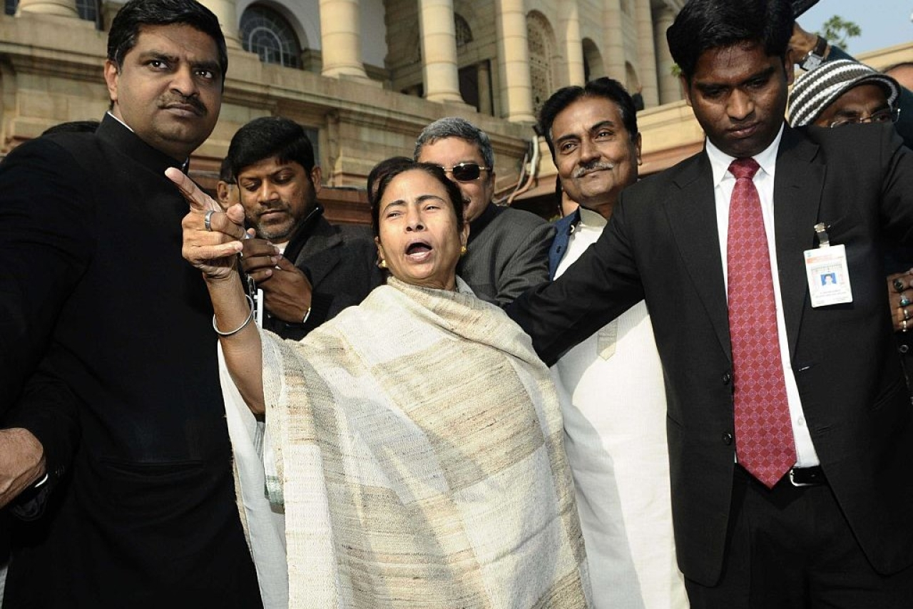 West Bengal Chief Minister Mamata Banerjee with party MP's. (Vipin Kumar/Hindustan Times via GettyImages)