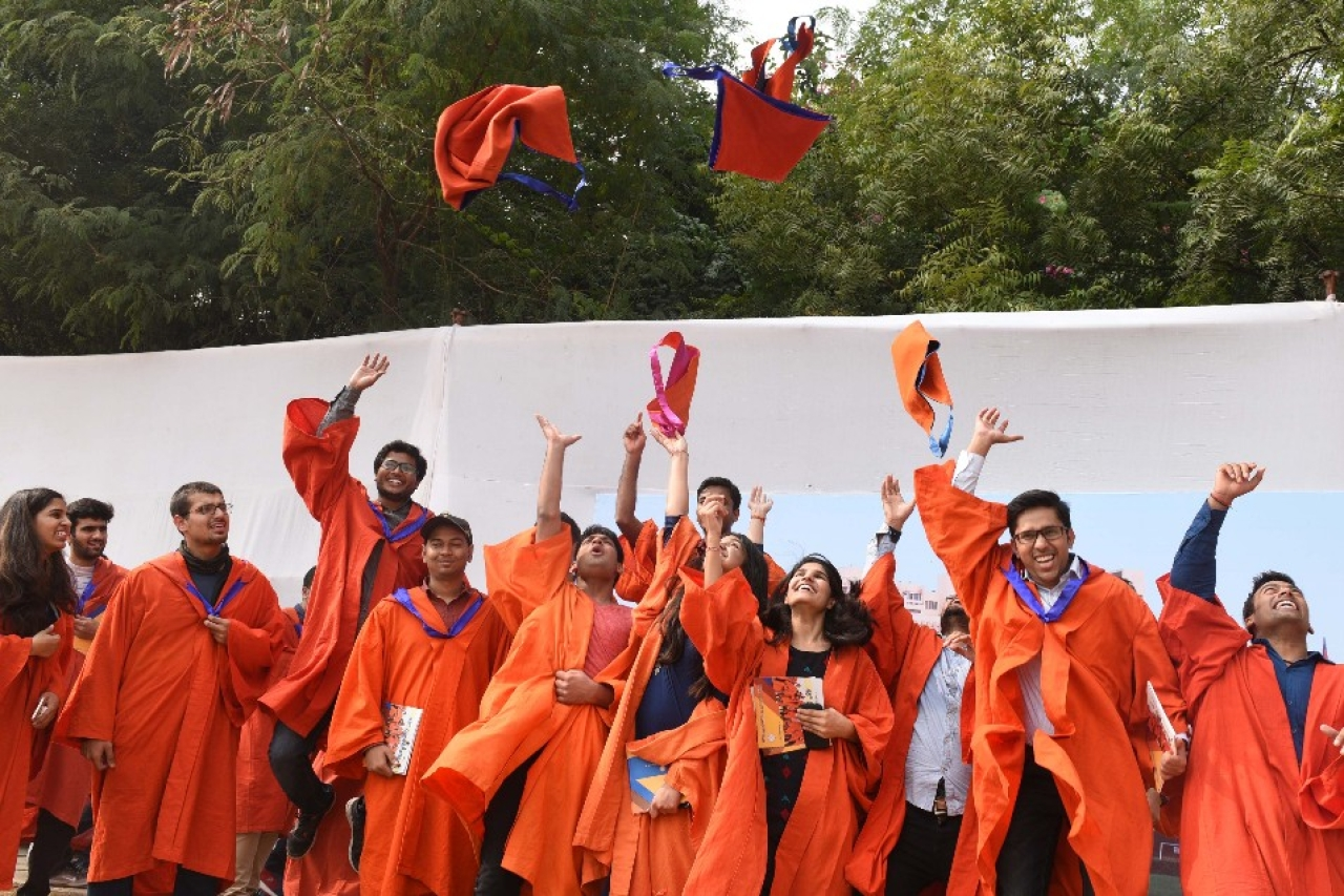 Scholars celebrate after the 48th convocation of Indian Institute of Technology (IIT) in 2017 in New Delhi. (Mohd Zakir/Hindustan Times via GettyImages)