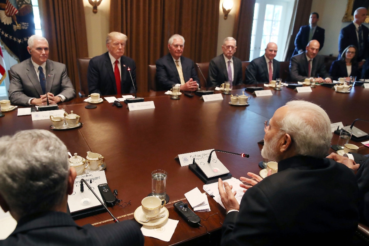 Indian Prime Minister Narendra Modi attends a meeting with US President Donald Trump. (Mark Wilson/Getty Images)