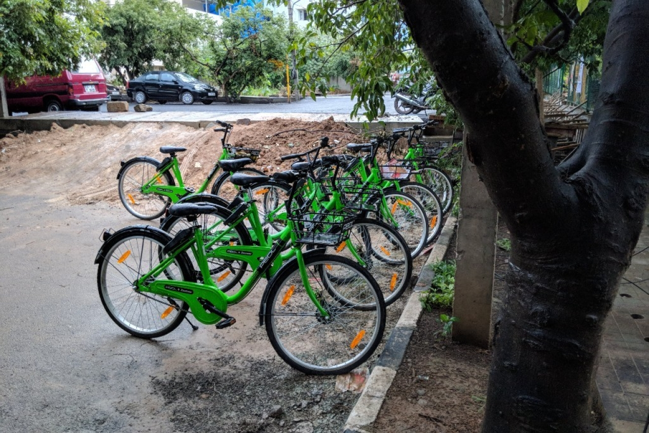 Zoomcar's Pedl cycles have become a popular mode of transport for residents looking to go green, in some parts of the city. (Karan Kamble/Swarajya)