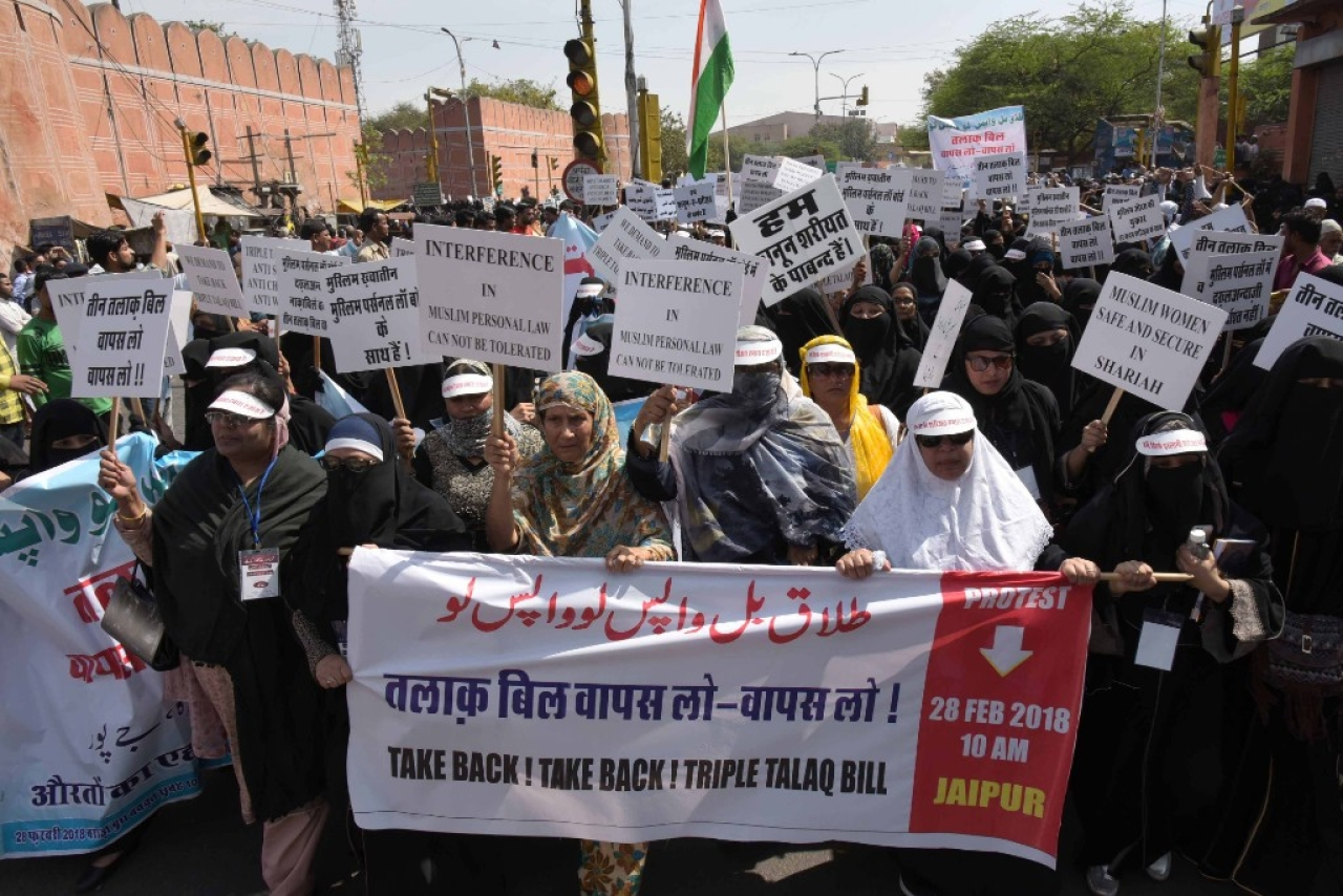 Women led by the women wing of the All India Muslim Personal Law Board take out a silent march in Jaipur to protest against the Triple Talaq bill which they say is anti-Sharia and anti-women. (Prabhakar Sharma\Hindustan Times via GettyImages)