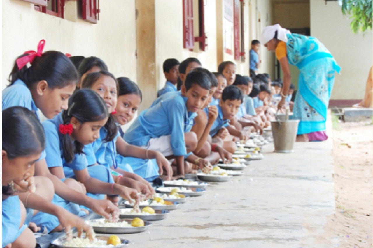 Mid-day meal being served at a government school near Bengaluru
