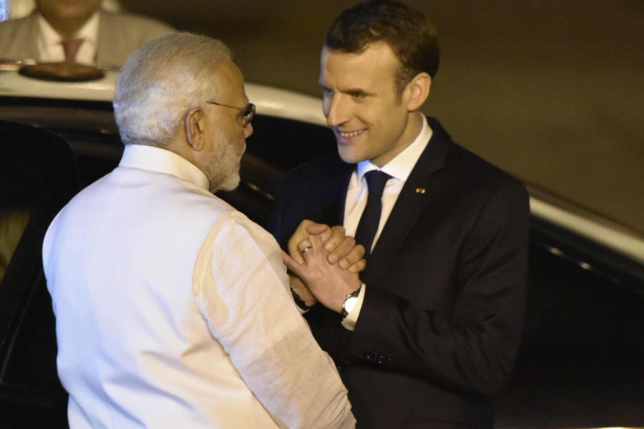 Prime Minister Narendra Modi with French President Emmanuel Macron. (Vipin Kumar/Hindustan Times via Getty Images)