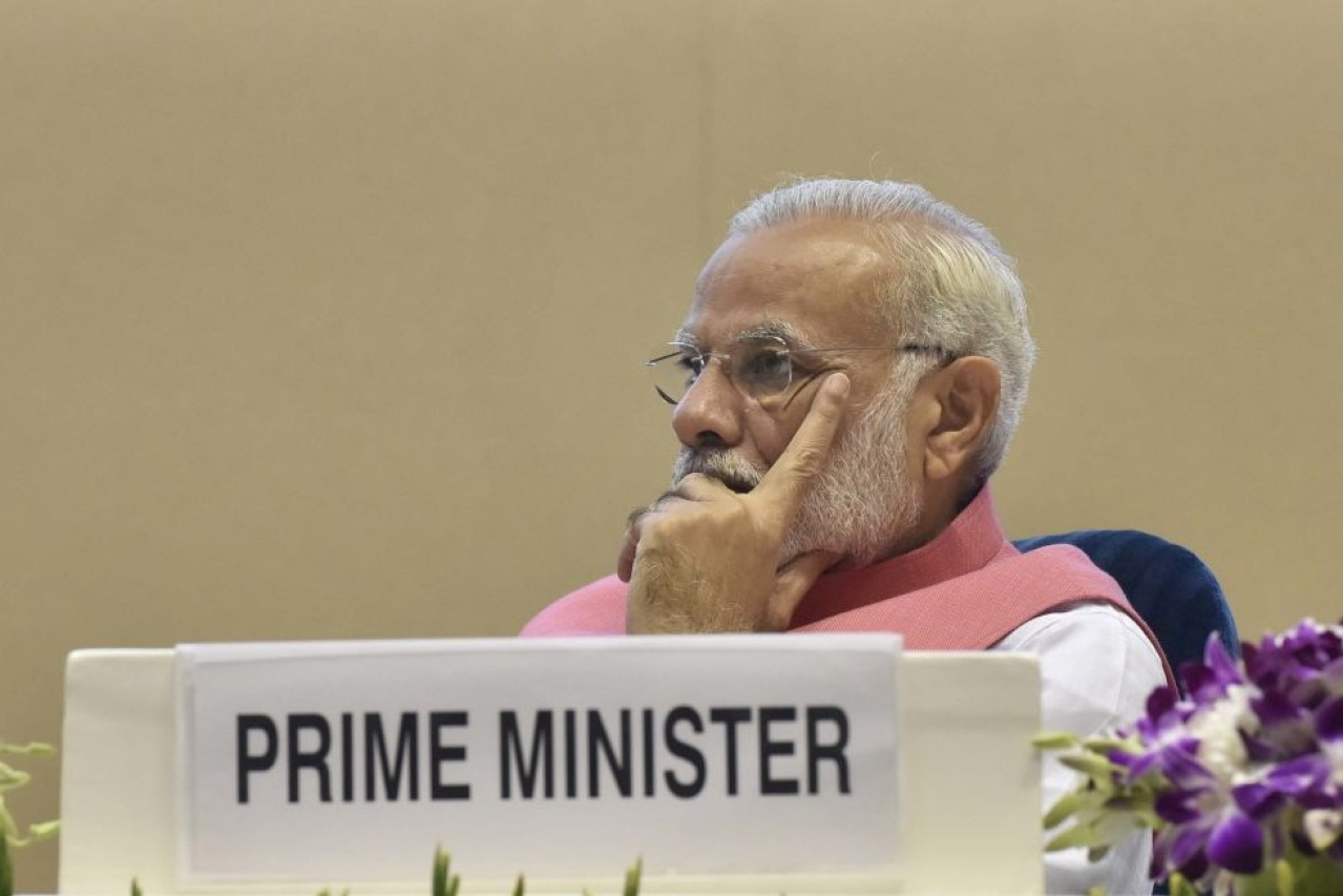 Prime Minister Narendra Modi during at international conference on empowering consumers at Vigyan Bhawan, New Delhi. (Sonu Mehta/Hindustan Times via Getty Images)