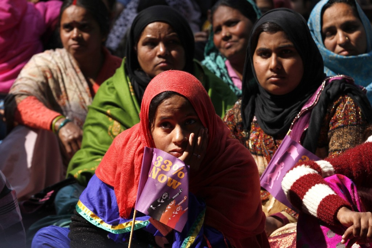 Women taking part in a public meeting organised by women's groups as part of '33 per cent Now'. (Arun Sharma/Hindustan Times via GettyImages)