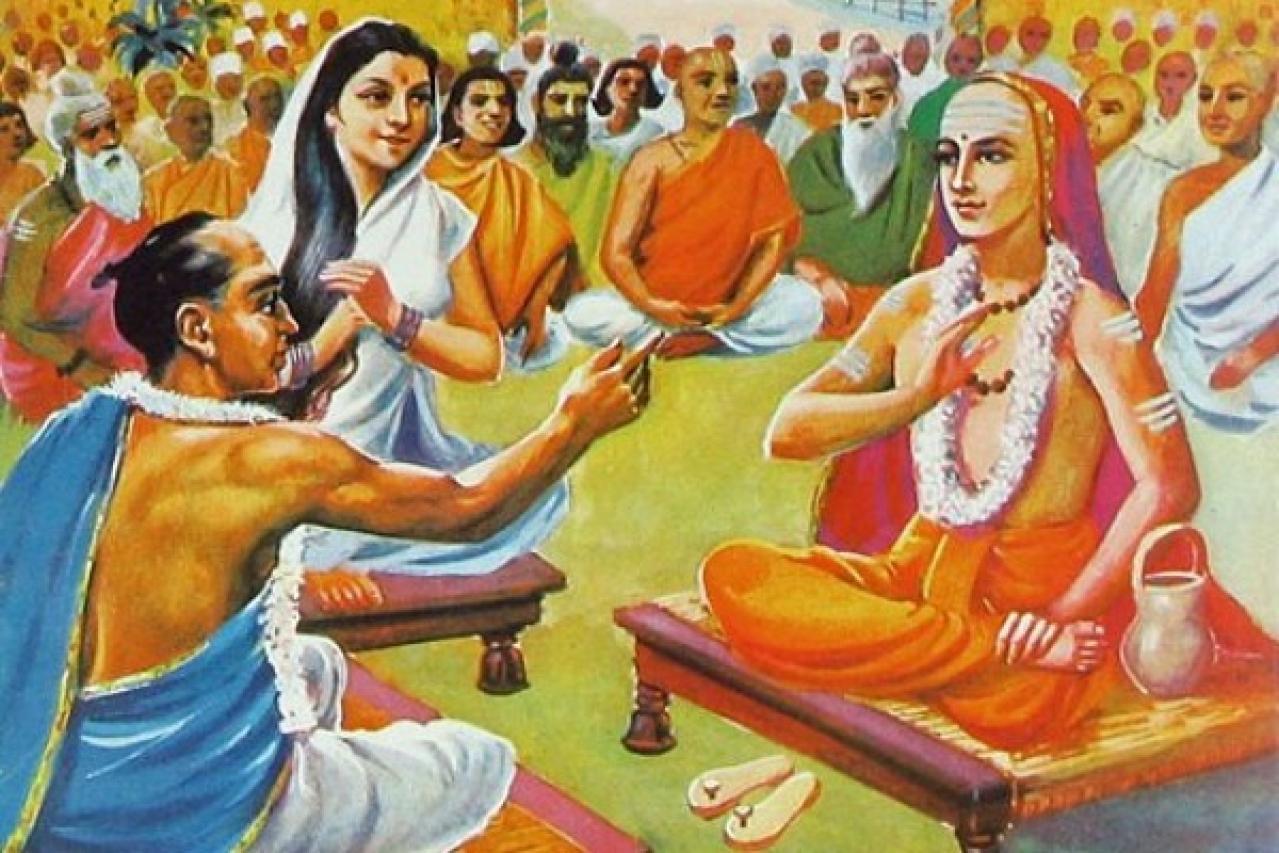 The legendary debate between Adi Shankara (R) and Mandana Mishra ... a classic example of <i>vaada</i>.