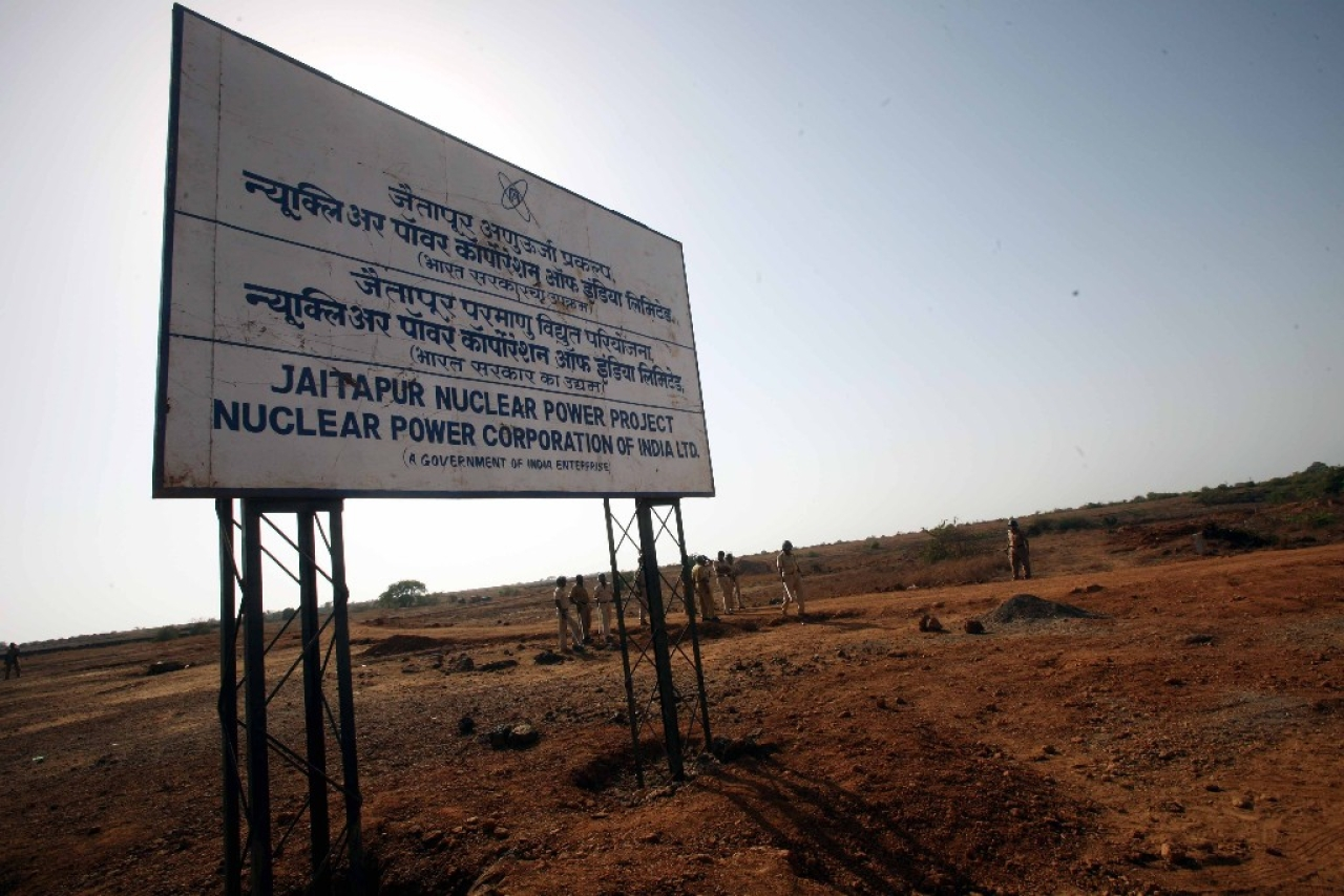 Policemen guard the site of Jaitapur Nuclear Power Plant in Ratnagiri, Maharashtra.  (Nagesh Ohal/India Today Group/Getty Images)