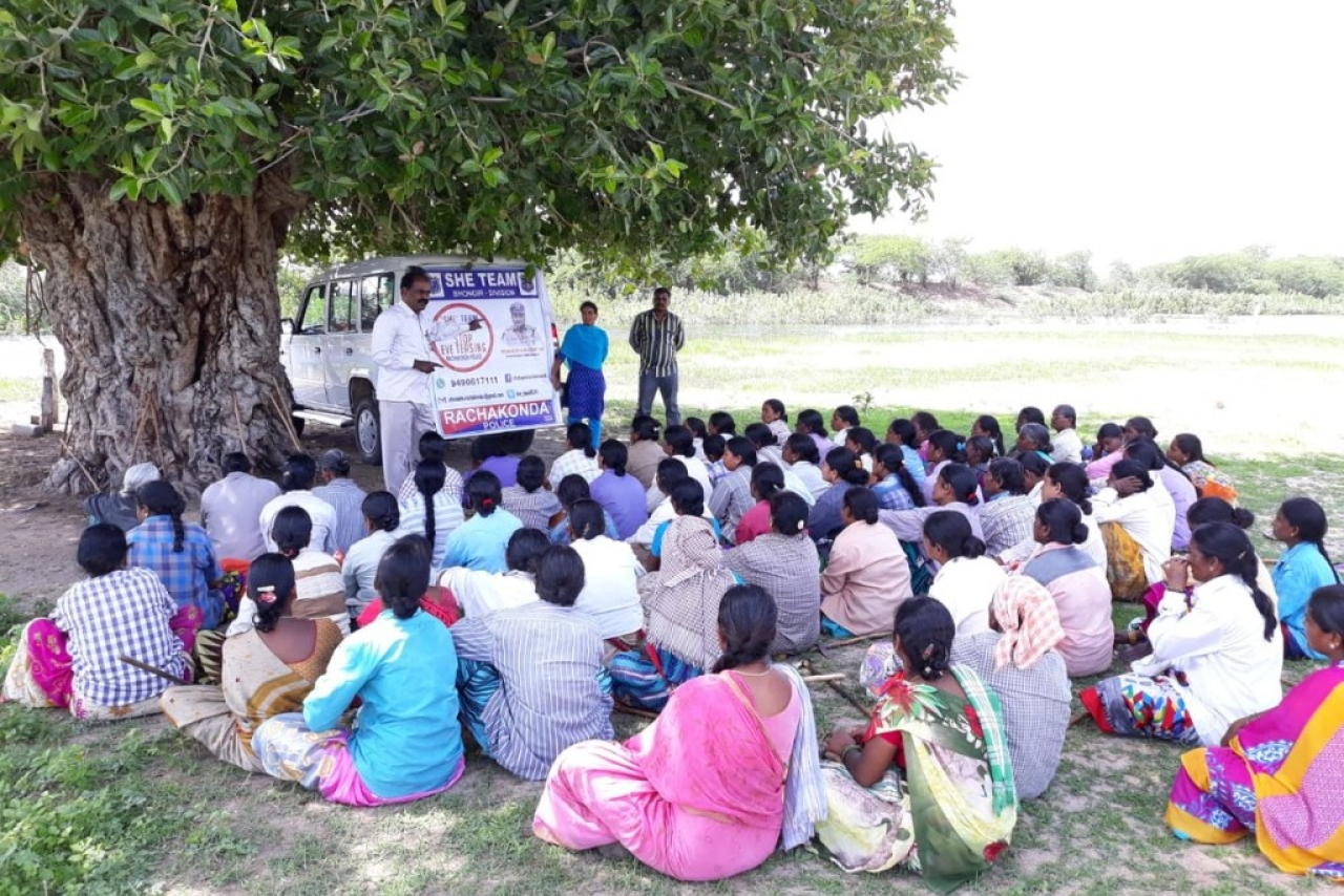 A SHE Team unit conducting an awareness camp among women in Vadaigudem village, Rangareddy district, Telangana. (@She_TeamRCK1/Twitter)