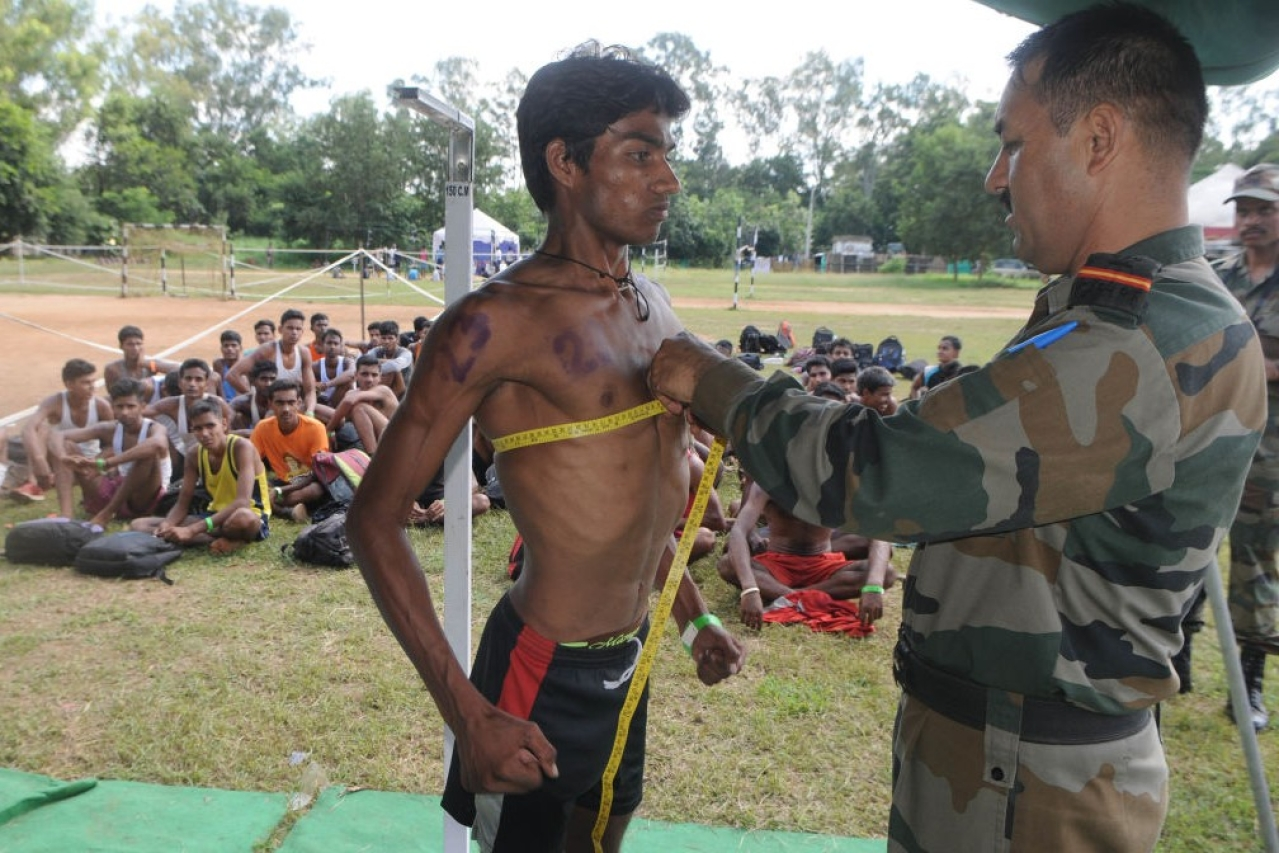 Special recruitment camp of the Indian Army at Morahbadi Ground, on October 7, 2017 in Ranchi (Parwaz Khan/Hindustan Times via Getty Images)