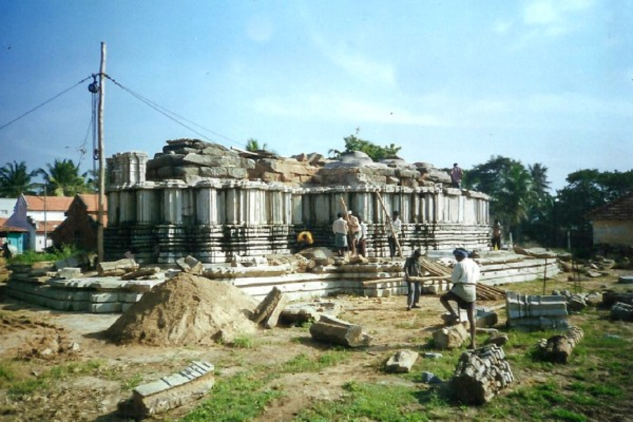 Work in progress at Kashivishveshwara Temple,  Hosaboodanuru,   Mandya