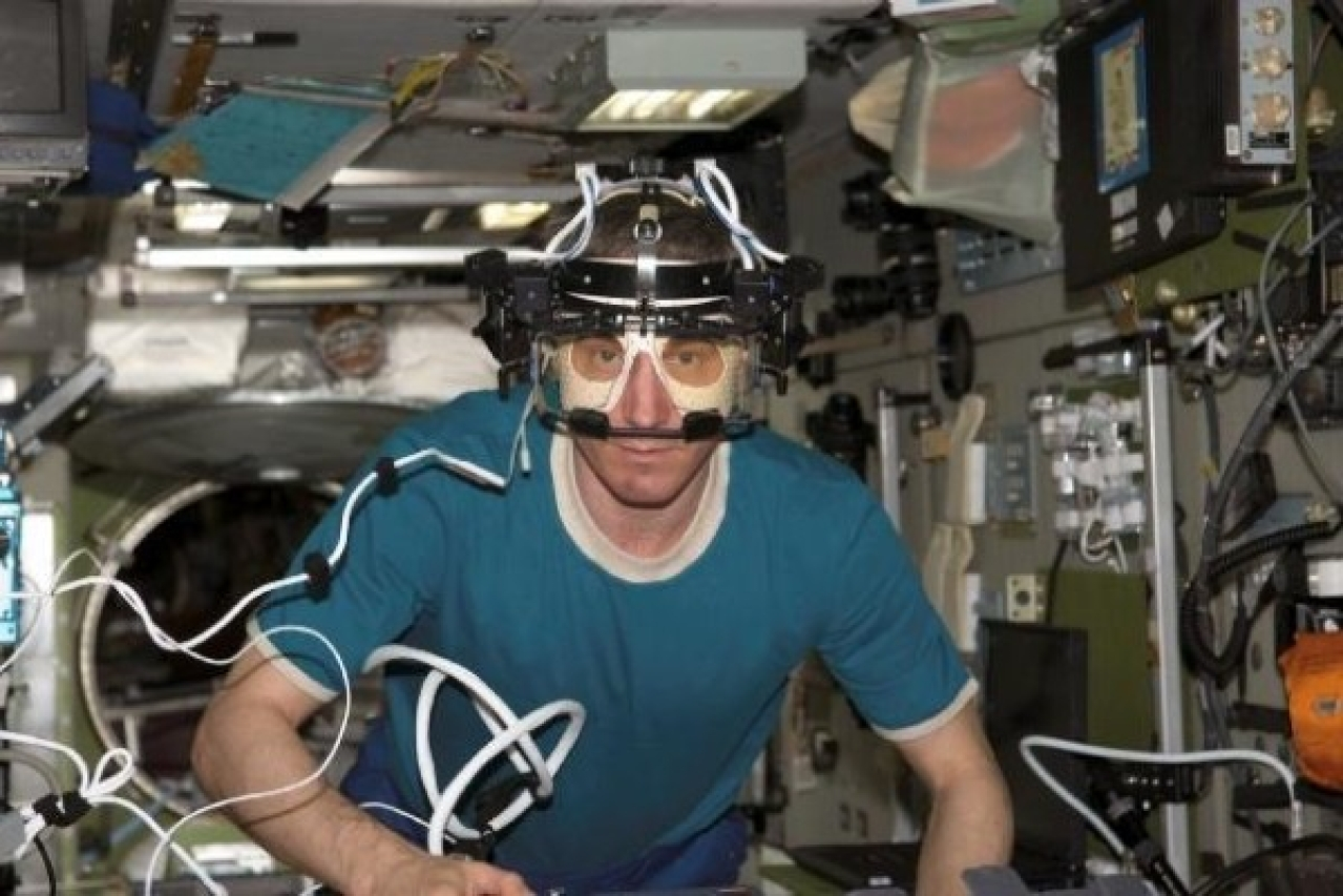 NASA Image: ISS011E13710 – Cosmonaut Sergei K Krikalev, Expedition 11 Commander representing Russia's Federal Space Agency, uses the Eye Tracking Device (ETD), a European Space Agency (ESA) payload in the Zvezda Service Module of the International Space Station. The ETD measures eye and head movements in space with great accuracy and precision.