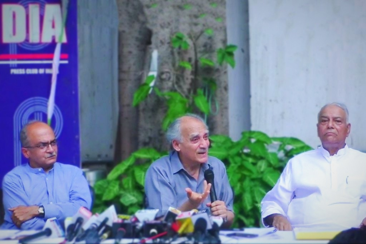 (L-R) Prashant Bhushan, Arun Shourie, and Yashwant Sinha spoke to the press about the Rafale deal.
