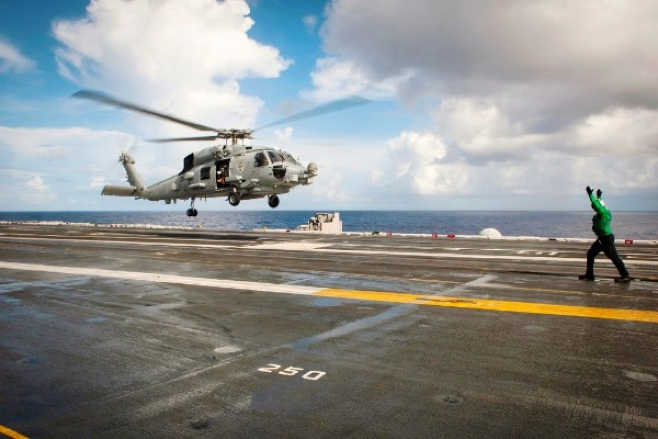 "MH-60R helicopter to take off from the flight deck of the Nimitz-class aircraft carrier USS Carl Vinson during a search and rescue mission. 	<a href=""https://www.flickr.com/photos/usmilitary/"">(US Military/Flickr)</a>"