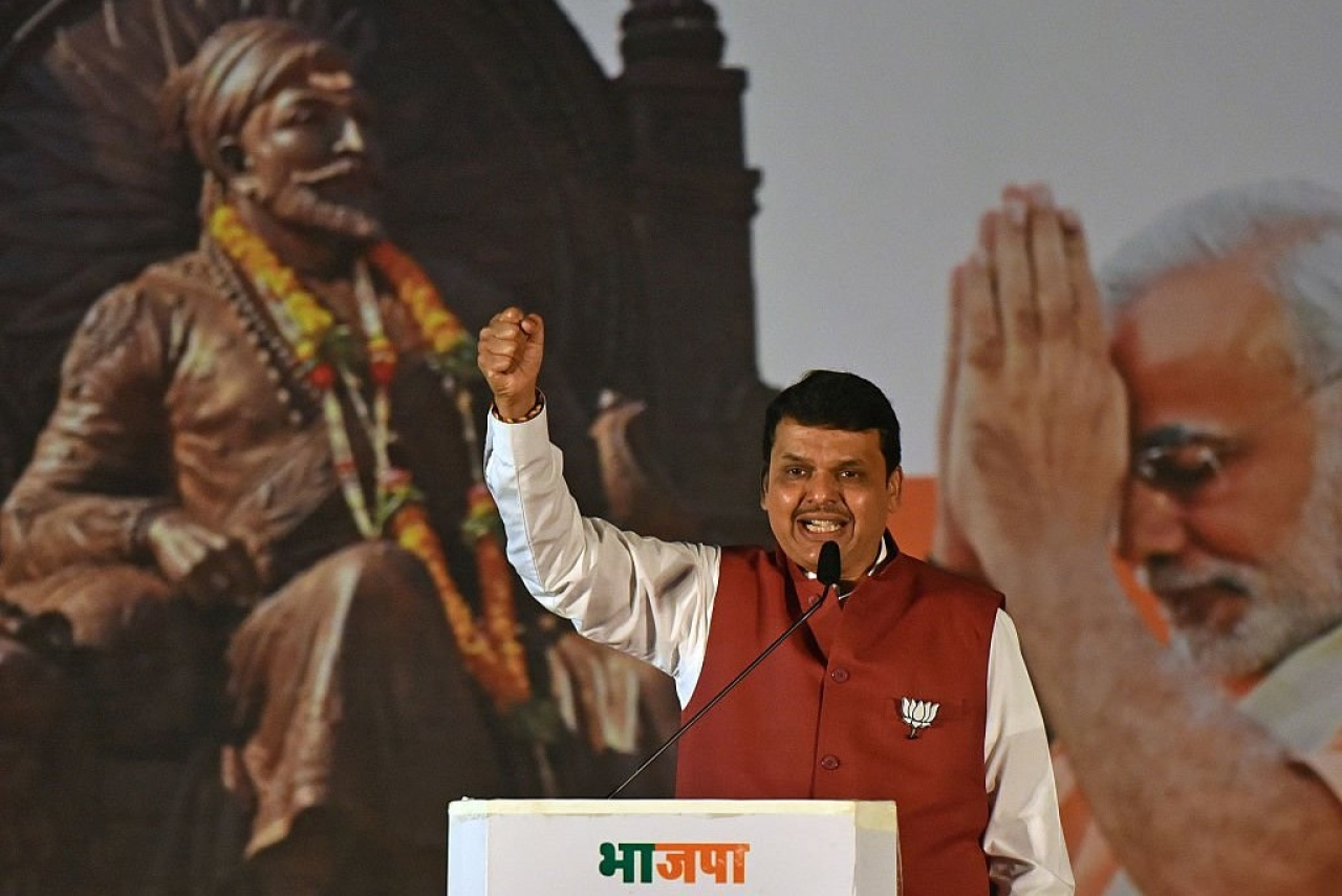 Maharashtra Chief Minister Devendra Fadnavis during a BJP rally in Mumbai. (Pratham Gokhale/Hindustan Times via GettyImages)