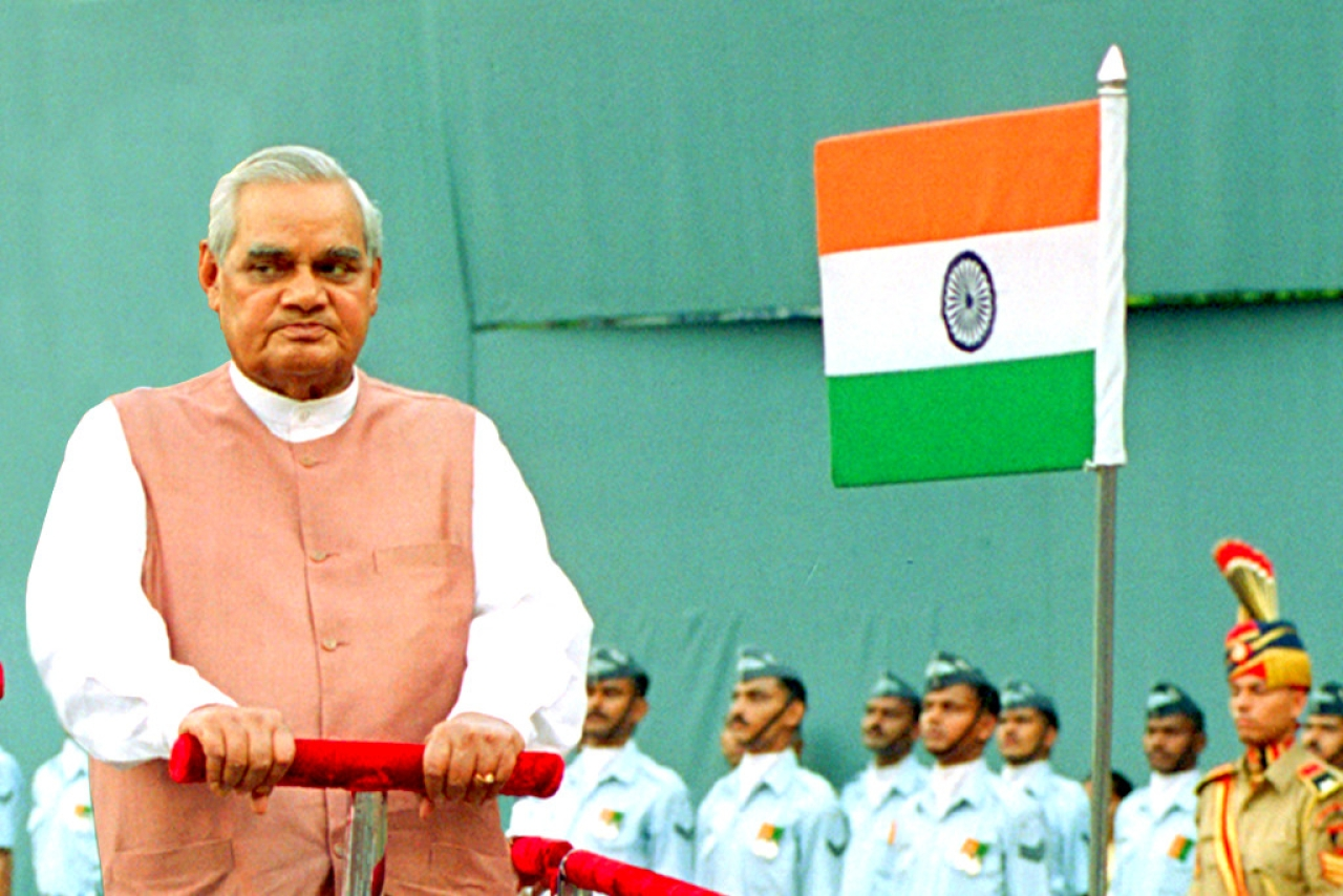 Former Prime Minister Atal Bihari Vajpayee inspects the guard of honor before his address to the nation on Independence day in 2002. (Ajay Aggarwal/Hindustan Times via Getty Images)