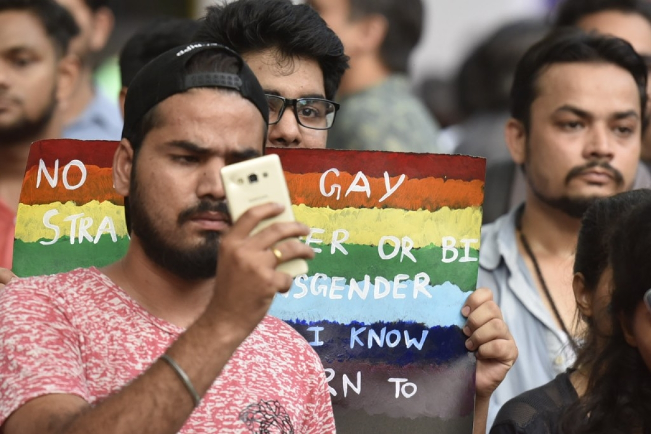 LGBT community members during the protest against Article 377 at Jantar Mantar  in New Delhi, India. (Raj K Raj/Hindustan Times via Gett Images)