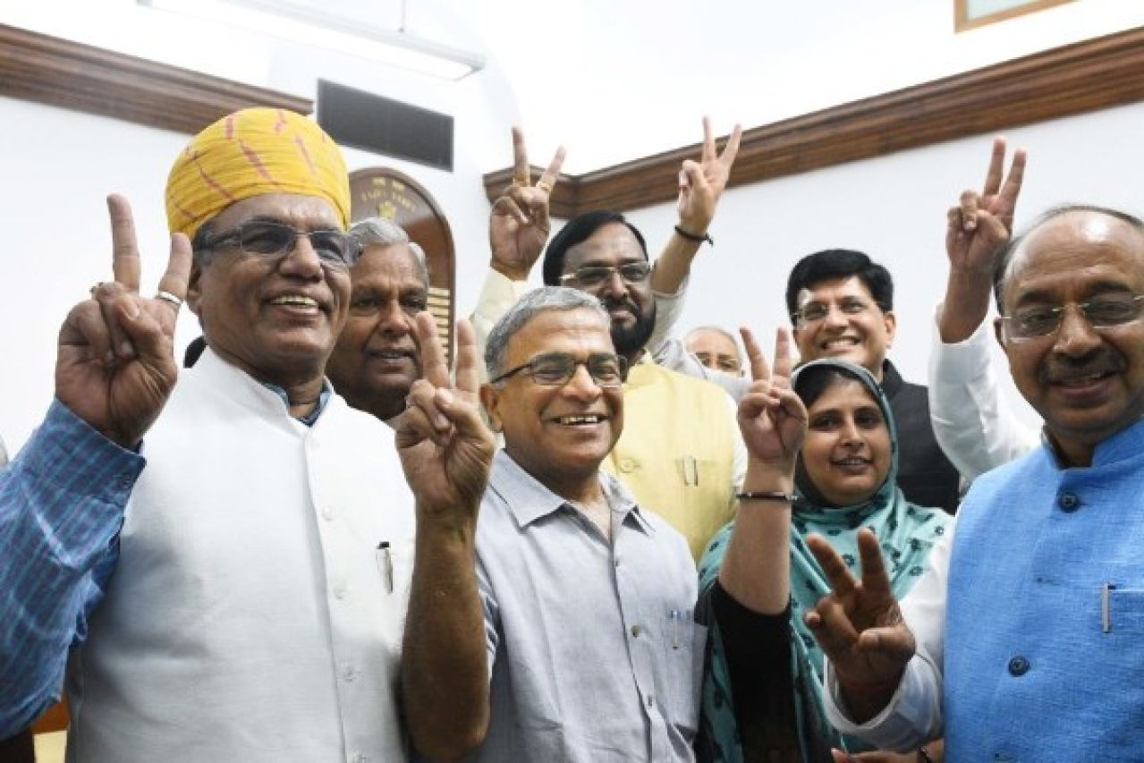 NDA candidate Harivansh won the Rajya Sabha Deputy Chairman battle. (Vipin Kumar/ Hindustan Times via Getty Images)
