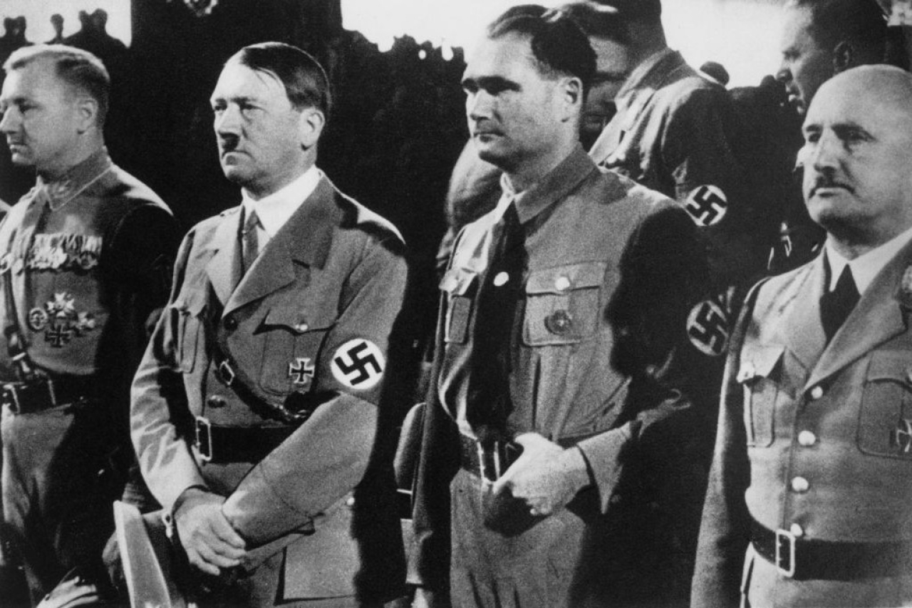 Adolf Hitler with Nazi party officials  (1885-1946), circa 1937. (Keystone/Hulton Archive/Getty Images)